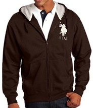 NEW US POLO ASSN MEN'S ATHLETIC SPORT JACKET SWEATSHIRT SWEATER HOODIE BROWN