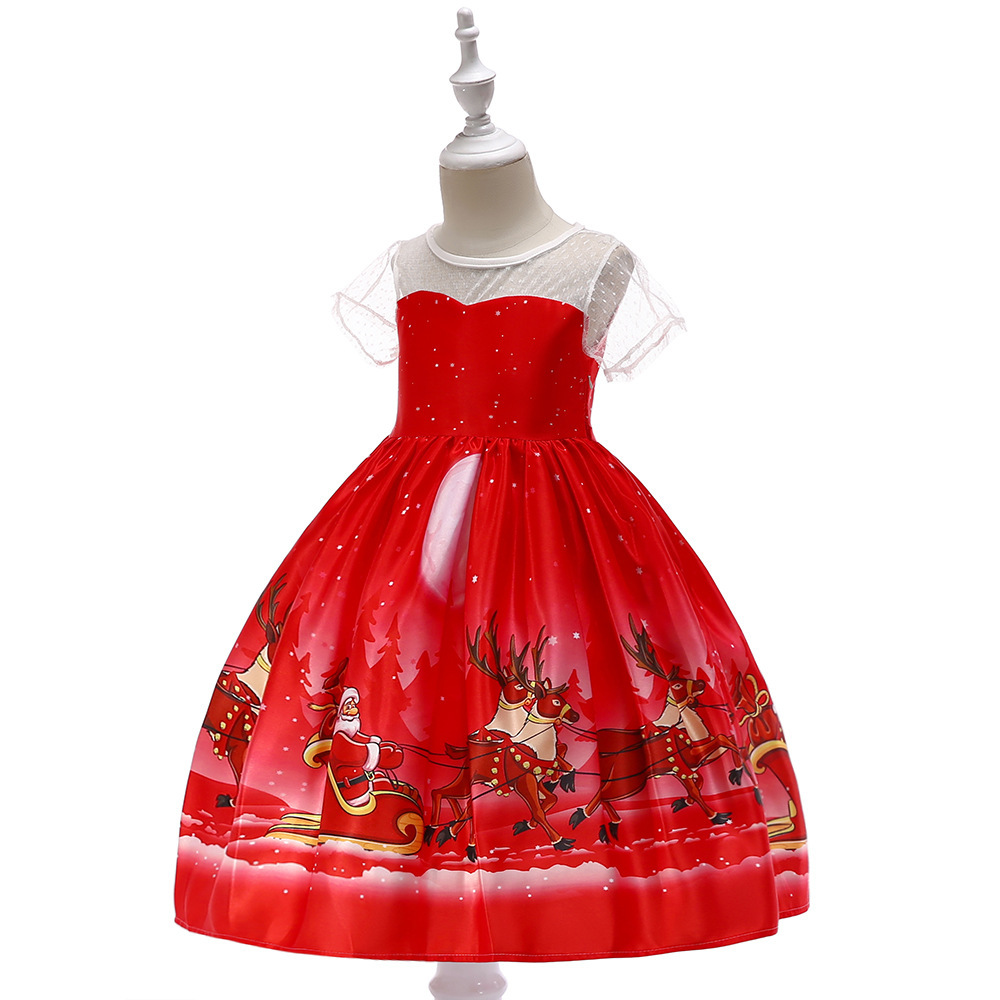 Flower Girls Dress Red Printed Christmas Dress 2019 Caped Sleeve Kids Party Gown