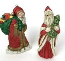 Vintage RUSS Christmas Santa Ornament Lot of 2 Porcelain 5569 tree toys - $19.79