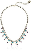 Betsey Johnson Womens Granny Chic Gold and Turquoise Frontal Necklace, C... - $53.82