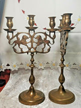 "ANTIQUE BRASS 3 Light Sabbath Shabbos Candelabrum 14 1/4"" T X 9"" W Matching Pair image 4"