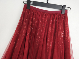 Wine Red Long Tulle Sequin Skirt High Waisted Red Christmas Holiday Skirt Outfit image 10