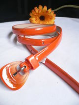 Neu Damen Mode Gürtel Trendy Skinny Hell Orange Kunstleder Schnalle S M image 3