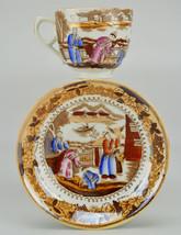 2 Person Antique Cup Figures Saucer Unique Tea ... - $32.34