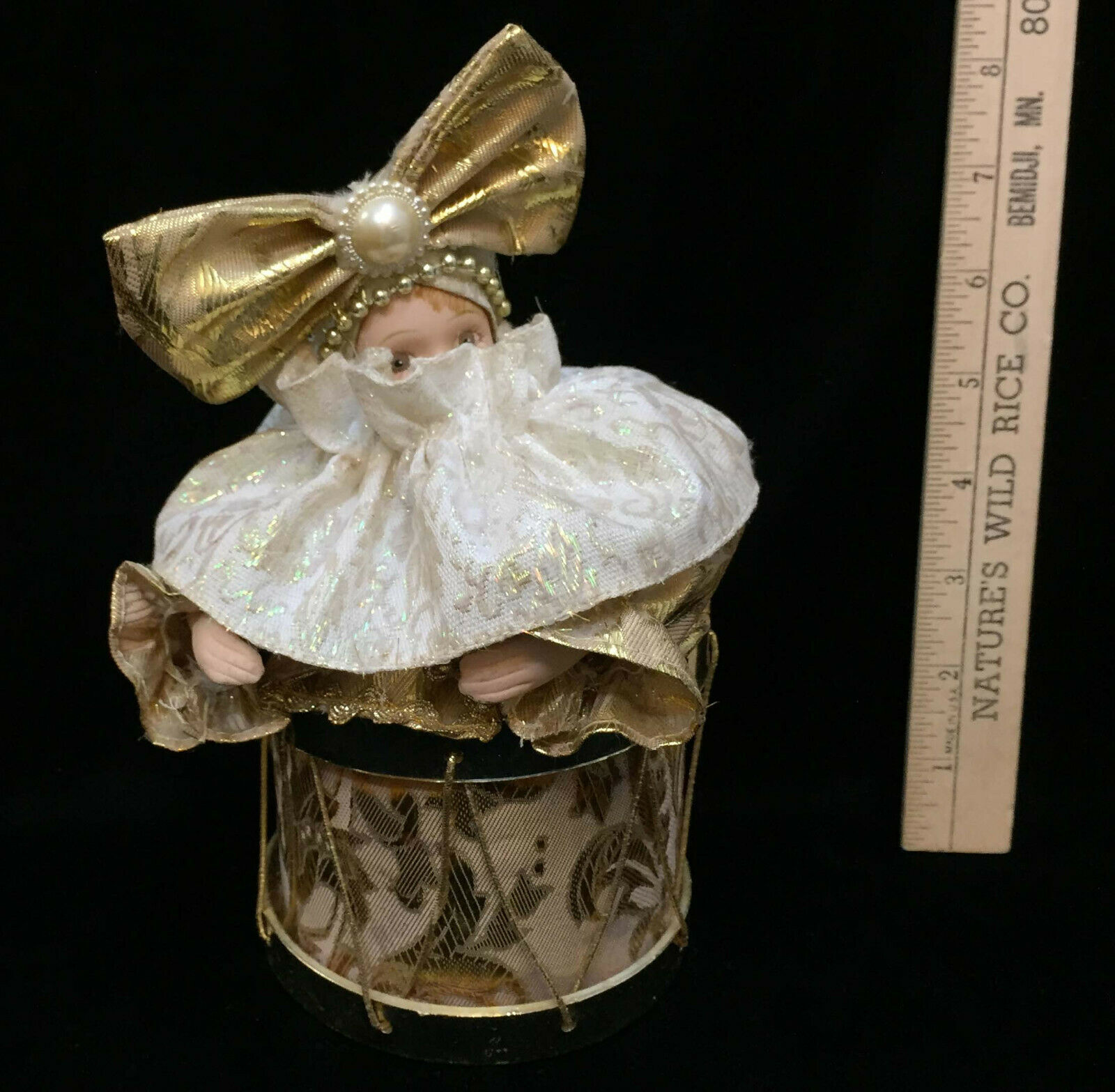 Girl Jester Music Box Drum Song Evergreen Animated Porcelain Goldtone Fabric Bow image 2