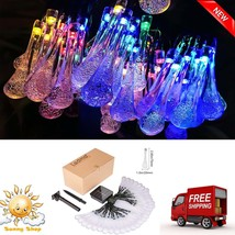17ft 20 Solar LED Outdoor Waterproof Fairy Water Drop String Lights Gard... - $7.44