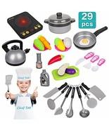 Kids Kitchen Pretend Play Set - 29Pcs Kitchen Toys Including Induction C... - $18.73
