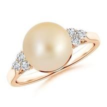 9mm Golden South Sea Cultured Pearl Trio Diamond Ring Silver/ 14K Gold S... - $353.18+