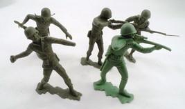 "5 1963 Louis Marx 5"" Green Plastic WWII US Military Soldiers USMC Marine... - $31.14"