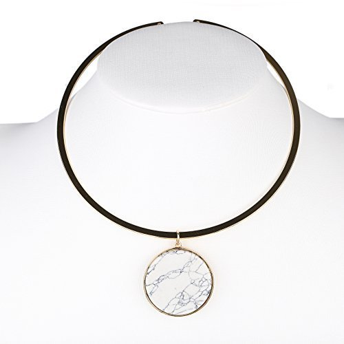 Primary image for UE- Trendy Gold Tone Designer Choker Necklace with White Faux Marble Pendant