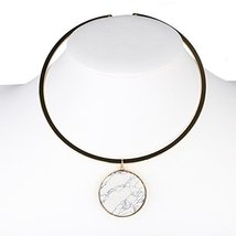UE- Trendy Gold Tone Designer Choker Necklace with White Faux Marble Pendant - $17.99