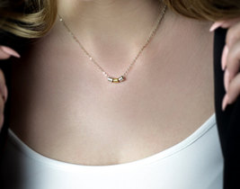 silver gold necklace,beaded necklace,simple necklace,minimalist necklace - $49.00+