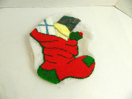Metallic Punch Needle Embroidery Christmas Stocking Lace Panel Applique ... - $20.00