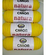 4 Skeins Caron Natura Yarn Lemon Yellow No Dye Lot Yarn 12 oz  4 Ply Wor... - $19.79