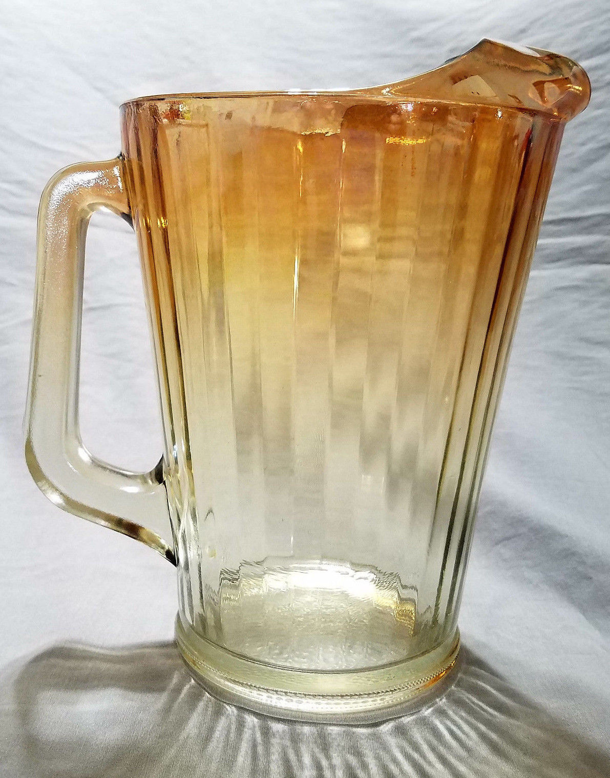 Vintage Jeannette Marigold to Clear Paneled Water Pitcher (circa 1950s)