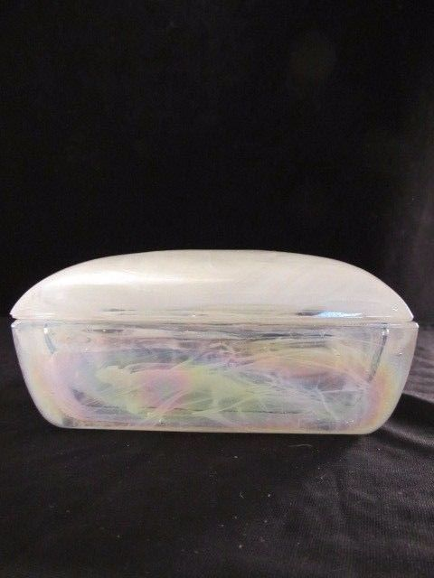 White Faux Marble Trinket Box Highlighted With Pink, Purple and Green Veining