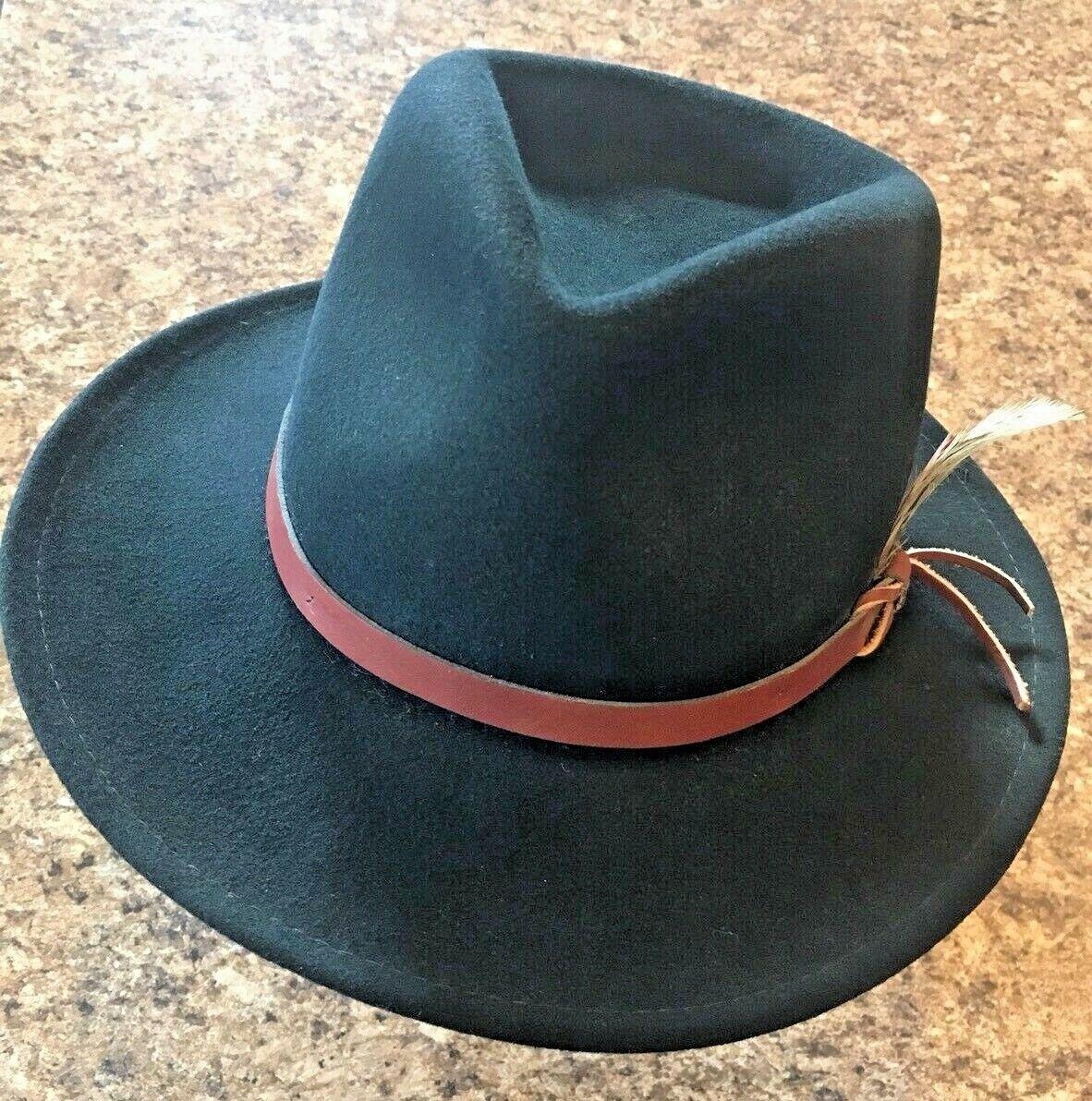 DORFMAN PACIFIC Fedora Black Wool Felt Velvet Hat Feather Sz M Brush Made USA
