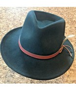 DORFMAN PACIFIC Fedora Black Wool Felt Velvet Hat Feather Sz M Brush Mad... - $31.92