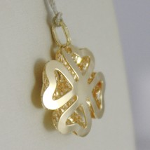18K YELLOW GOLD PENDANT CHARM LUCKY FOUR LEAF CLOVER FINELY WORKED MADE IN ITALY image 2