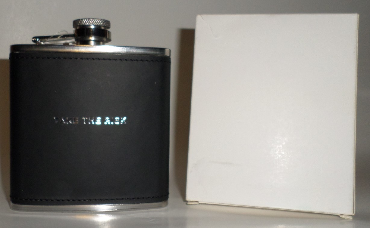 Take the Risk Liquor Flask 6 oz Papyrus black stainless steel square gift H31
