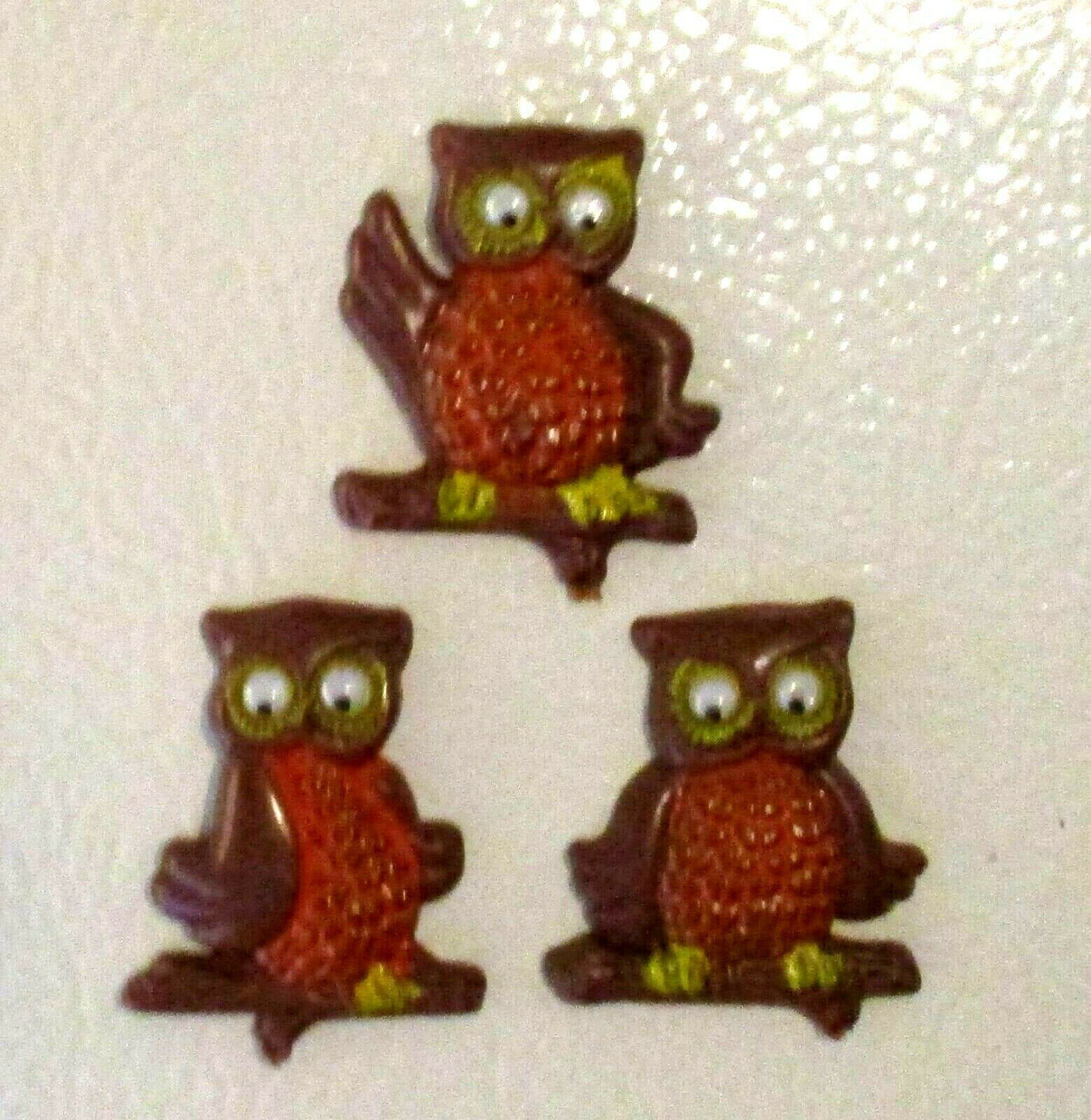 CUTE! 1970's Retro Vintage Wise Owls Rolling Eyes Orange Brown Yellow Magnets