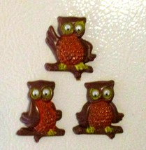 CUTE! 1970's Retro Vintage Wise Owls Rolling Eyes Orange Brown Yellow Ma... - $14.85