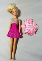 Vintage Barbie Doll 1991 Blonde Hair With Ponytail 2 Outfits Dresses Pink - $20.41
