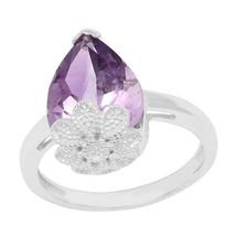 925 Silver 6.00 Crt Pear Cut Amethyst Gemstone Floral Design Teardrop Ring - $31.71
