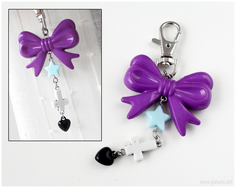 Pastel Goth Zipper Pull Charm, Inverted Cross Keychain, Kawaii, Jfashion