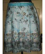 SHERI MARTIN Unique Aqua Sketched Pleated Skirt 10P 10 Petite FREE SHIP - $26.95