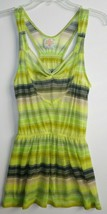 FREE PEOPLE ANTHROPOLOGIE SHEER GREEN STRIPED TUNIC HIPPIE TOP BLOUSE XS LN - $21.56