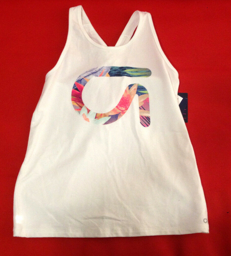 Gap Kids Girls Tank 14 16 White Active Fit Floral Logo Graphic Racer Cross Back