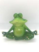 Set of 2 - Pond Life Yoga Frog Figurines - Green Polystone Lotus Poses  image 2