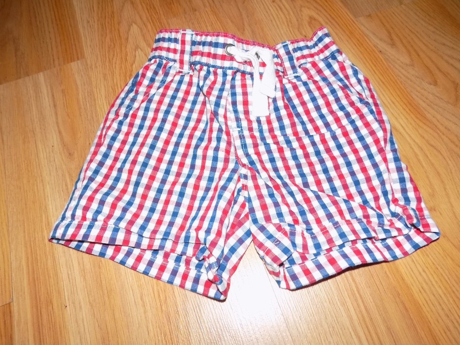 Primary image for Infant Size 6-9 Months Disney Store Red White Blue Plaid Checked Print Shorts