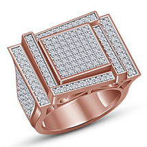 14k Rose Gold Plated 925 Silver Men's Engagement Band Ring In Round Cut White CZ - $153.99