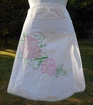 White Half Apron Pink Applique Flower pocket Green Trim Vtg - $9.89