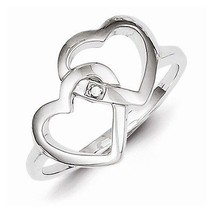 STERLING SILVER DIAMOND ACCENT INTERWINED HEART / HEARTS  RING - SIZE 6 - £23.72 GBP