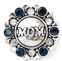 Silver Blue Rhinestones MOM 18mm Snap Charm Interchangeable Fits Ginger ... - $6.19