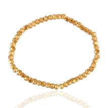 Beads Stretch Bracelet 18K Yellow Gold On 925 Silver Handmade Jewelry - $63.21