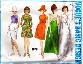 Vintage 1960s Misses' ONE PIECE DRESS VOGUE Pattern 1870 Size 12 - $20.00