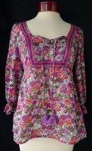 Ann Taylor Loft Purple Pink Floral Light Sheer Peasant Top Small Petite ... - $17.56