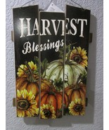 "Fall Thanksgiving HARVEST BLESSINGS Hanging Wall Sign Plaque Decor 15"" - $18.99"