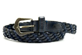 Vintage Womens Braided Real Leather Belt Blue Size 30 - $22.36