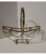 Vintage Metal Decor Basket - Patina - Ball feet - free standing - $7.70