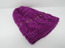 Handcrafted Knitted Hat Beanie Violet Owls Buttons 100% Merino Wool Fema... - $39.66