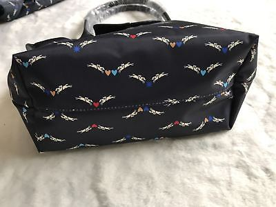 Longchamp Limited Edition Angel Horses Navy Blue Small Tote 2605 Model Auth