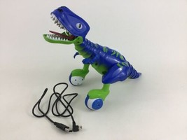 Zoomer Dino Jester Interactive Blue Robot Dinosaur Toy USB Charger Spin ... - $35.59