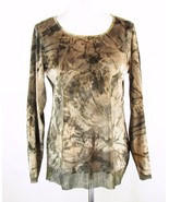 CHICO'S Size 1 M New Velour Metallic Chiffon Accents Tunic Top - $19.99