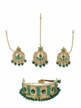 Zaveri Pearls Green Stone Beads Traditional Choker Necklace, Earring & M... - $22.78