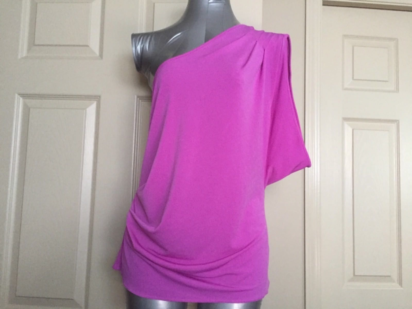 Express Women Top Blouse Size Large Pink One Shoulder One Sleeve Trendy New